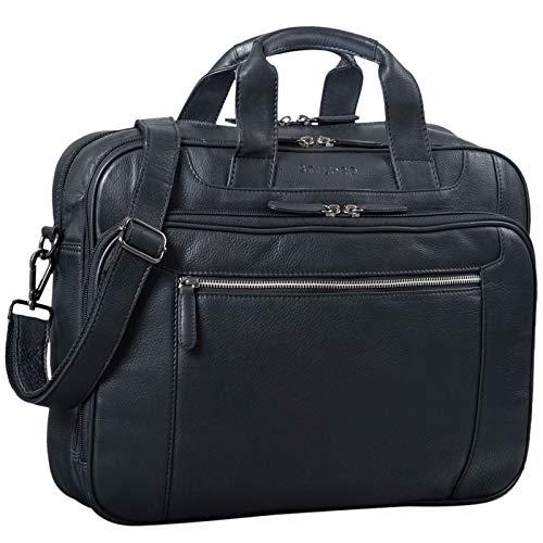 STILORD 'Nelson' Businesstasche Herren Leder 15,6 Zoll Laptoptasche Groß Aktentasche Umhängetasche aus Vintage Rindsleder, Farbe:schwarz