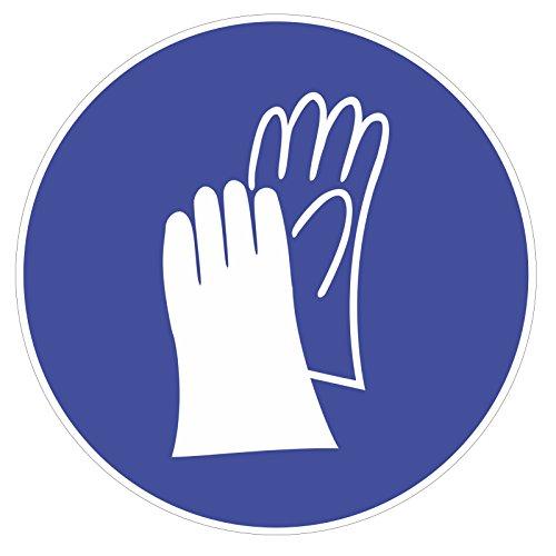 Gebots-Aufkleber Handschutz benutzen I Ø 9 cm I Handschuhe tragen I Gebotshinweis Sicherheitszeichen Gebotszeichen I hin_142