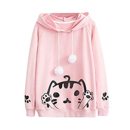 Longra dames T-shirt, mantel, lange mouwen, met capuchon, ronde hals, tops, nonchalant, herfst, chique, bloes, kat, bedrukt, sweatshirt en haarbal