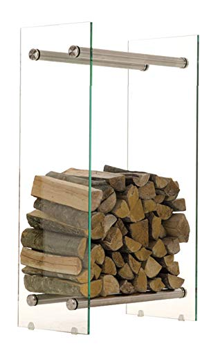CLP Kaminholzregal/Kaminholzständer Dacio aus Klarglas I stabile Konstruktion I Holzlager I modernes Glasregal mit Bodenschonern, Farbe:Edelstahl, Größe:35x60x80 cm