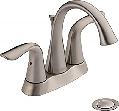 Delta Faucet Lahara Centerset Bathroom Faucet Brushed Nickel, Bathroom Sink Faucet, Diamond Seal Technology, Metal Drain Assembly, Stainless 2538-SSMPU-DST