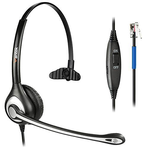 Wantek Cuffie Telefono Fisso RJ9 Monoaurale con Microfono a Cancellazione del Rumore, Auricolare Ufficio per Cisco 7942 7945 7971 o Plantronics M10 M12 M22 MX10 Amplificatore(F600C1)