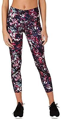 Ideology Women's Abstract Floral Printed Mesh-Trimmed Leggings:Black/Pink/Mult. (Med)