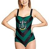 HARRY POTTER Traje de baño de señoras Slytherin Cresta Bosque Elfo Negro Verde - XS