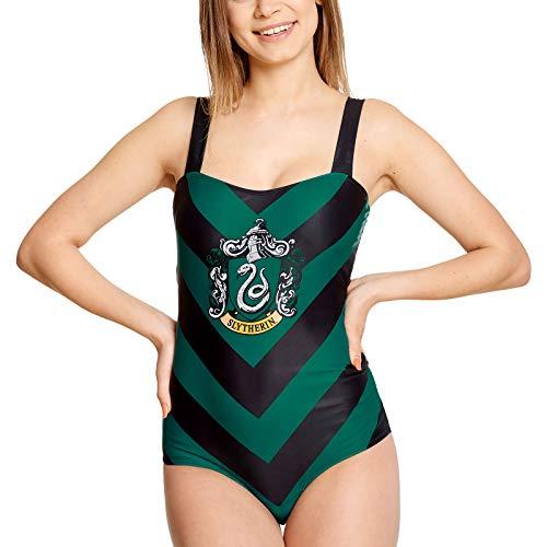 Harry Potter Elbenwald Badeanzug Slytherin Wappen für Damen schwarz grün - M