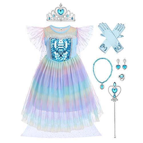 IMEKIS Disfraz de princesa Elsa para nios y nias, disfraz de reina congelada, con lentejuelas, arco iris, tut de tul para cumpleaos, carnaval, cosplay