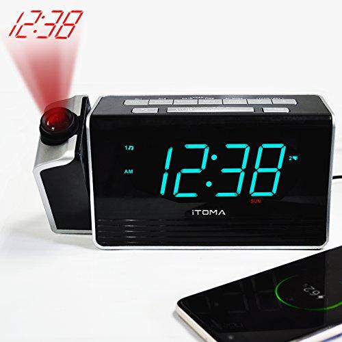 iTOMA Projektionswecker, UKW-Radiowecker/Radiowecker mit Projektion, Doppelalarm mit USB-Ladeanschluss, 4 Level Dimmer-Steuerung, Backup mit Akku bei Stromausfall (CKS512)