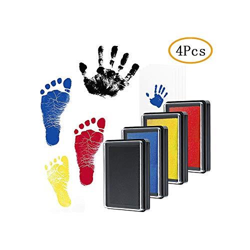 Baby Fuß- oder Hand-Abdruckset Set, Amokee Baby Stempelkissen in Vier Farben Baby Handabdruck und Fußabdruck, Sichere wiederverwendbare Stempelkissen Schwarz + Rot + Blau + Gelb mit 4 pcs Druckkarten