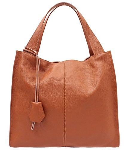 Marco VENEZIA Modische Echtleder Shopper/Handtasche/Umhängetasche Made in Italy, MARTA (Cognac)