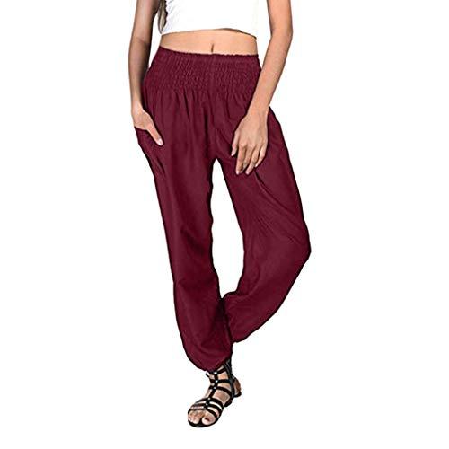 Zegeey Mujer Pantalones,Pantalones Piernas Anchas Pantalones Color sólido Casual Largos Pantalones Mujer Gym Yoga Pantalones Leggings Cintura Alta Deportivos Running Jogging
