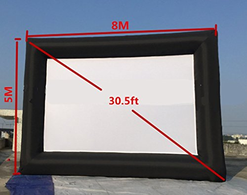 KUNHEWUHUA 30.5' Inflatable Movie Screen 8m x 5m Outdoor Projector Screen with 110v blowers (Black)