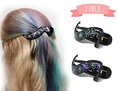Hair Barrette Hand painted Hair Clips. Styling for Women and Girls. this Attractive Hair Accessory can be used as a Ponytail Holder or a Hair Grip. for Thick or Thin Hair. 2 Pcs Uniquely Hand Crafted