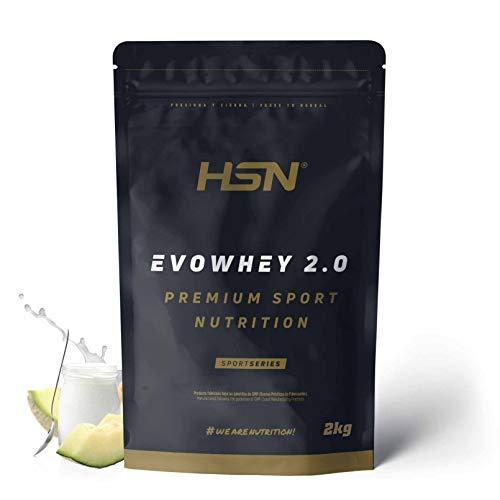 Concentrado de Proteína de Suero Evowhey Protein 2.0 de HSN | Whey Protein Concentrate| Batido de Proteínas en Polvo | Vegetariano, Sin Gluten, Sin Soja, Sabor Yogur Melón, 2Kg