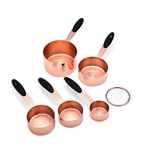 GQFGYYL Taza Medidora de Acero Inoxidable, 5 Piezas de Accesorios de Cocina de Oro Rosa, Juego de Herramientas de Cocina para Hornear para Alimentos Secos, Especias O LíQuidos