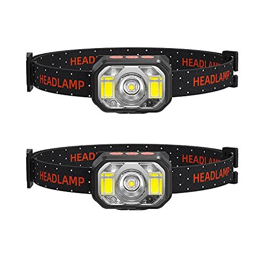 「2021最新版」LEDヘッドライト 充電式 USB 明るい 2個セットSUNTOLL 高輝度 1000ルーメン 小型超軽量 90°角度調整 ワンタッチで電源オン/オフ センサー/記憶機能付き 防水/防災 夜釣り/自転車/登山/キャンプ/散歩/ランニング/