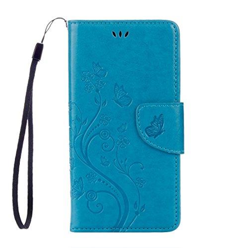 Cassa posteriore del telefono WU Huawei Y6 II Butterflies LOVE for Flowers Embossing Funda de piel horizontal con soporte y ranuras para tarjetas, cartera y cordón (negro) (Color: azul)