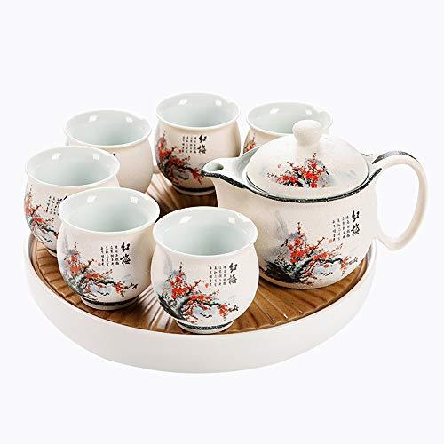 fanquare 8 Piezas Kung Fu Juego de Té de Cerámica con Glaseado Nieve Blanca, Tetera de Porcelana de Ciruela Roja, Servicio de Té con Bandeja