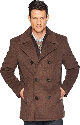 Kenneth Cole New York Double Breasted Wool Peacoat w/Inner Vestie Medium Brown MD