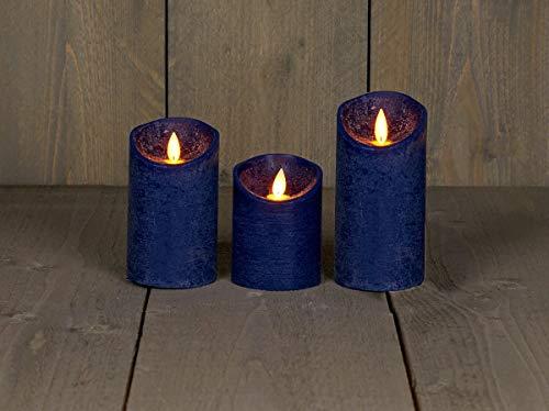 Coen Bakker 3er Set Kerze LED Echtwachskerze 10 cm + 12,5 cm + 15 cm Kerze Ø 7,5 cm viele Farben mit Timer flackender Docht Wachskerze Kerzen, Farbe:Antik Blau