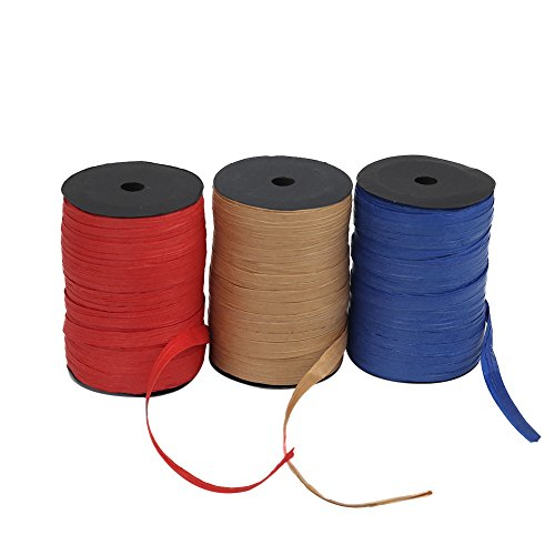 HRX Package Raffia Ribbon, Pack of 3 1/4 inch x 100 Feet Packing Paper Twine(3 Colors) for Christmas
