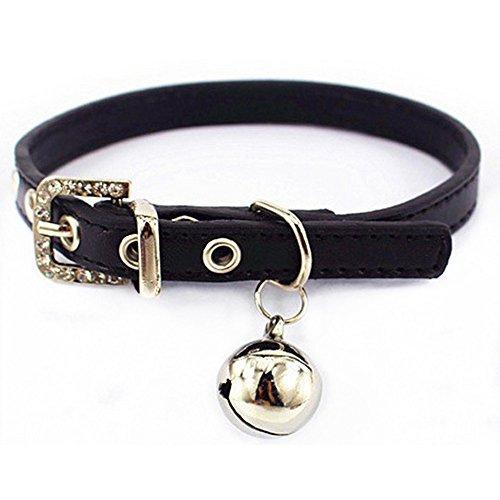 Luniquz PU Leder Crystal Haustier Halsband Katzenhalsband Kleinhundehalsband Gürtel Halsband mit Schelle Schmuck für Katzen/Kleinhunde/klein Haustier - schwarz XS 7