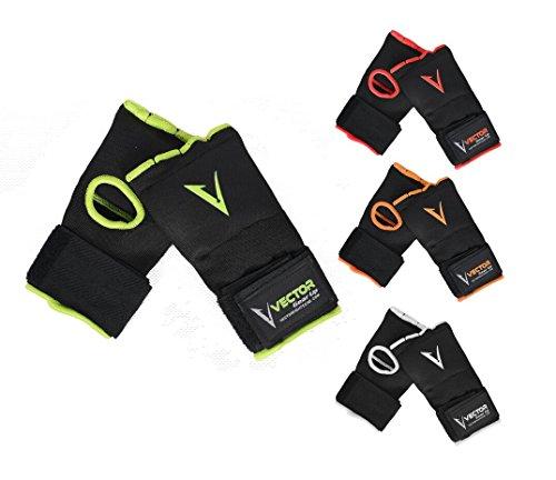 Vector Sports - Vendajes de mano de Gel Acolchado para entrenamiento, Unisex, Protector de puño, para ser usado debajo de los guantes para boxeo MMA Kickboxing Muay Thai, 4 colores, Medium, Verde