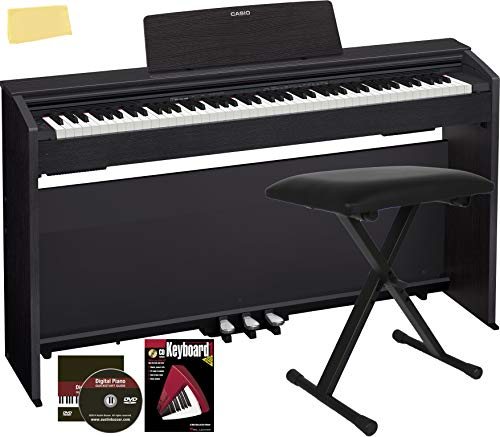 Casio Privia PX-860 Digital Piano Bundle with Furniture-Style Bench, Headphones, 1/4-Inch Instrument Cables, Instructional Book, Austin Bazaar Instructional DVD, and Polishing Cloth - Black