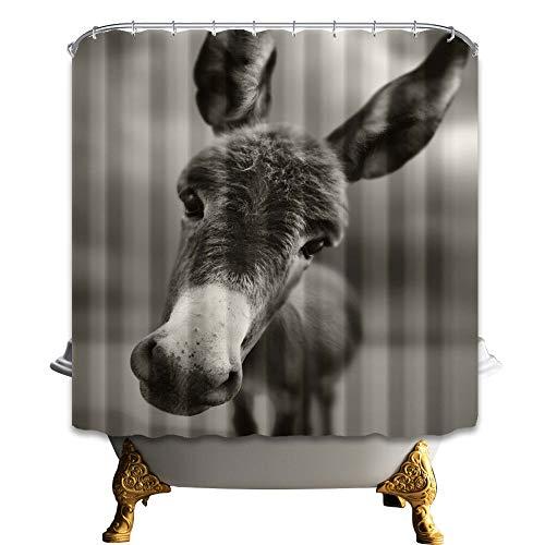 SRJ2018 schöner Esel-Duschvorhang, Polyester, wasserdicht, für Badezimmer, Badewanne, Zuhause, kostenlose Ringe, 183 x 183 cm