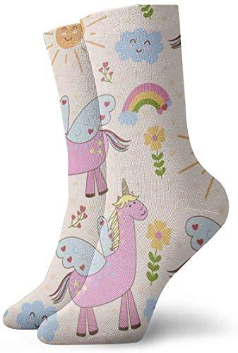 BEDKKJY Süße Einhörner Sonne Regenbogen Wolken Erwachsene Kurze Socken Baumwolle kuschelige Socken für Herren Damen Yoga Wandern Radfahren Laufen Fußball Sport