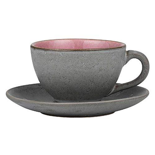 BITZ - Tasse mit Unterteller - Steingut - grau/rosa - 220 ml