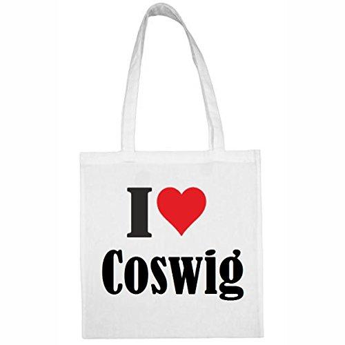 Tasche I Love Coswig Größe 38x42 Farbe Weiss Druck Schwarz