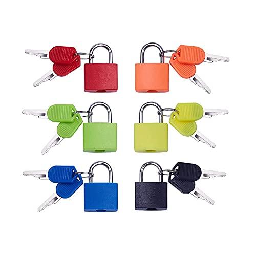 6 Piezas Cerradura de Maleta de Color, Candado con Llave, Candado Colores con Llave Candado Maleta, para Puertas, Maletas, Bolsos, Alacenas, Cajones y Otros Muebles (6 Colores)