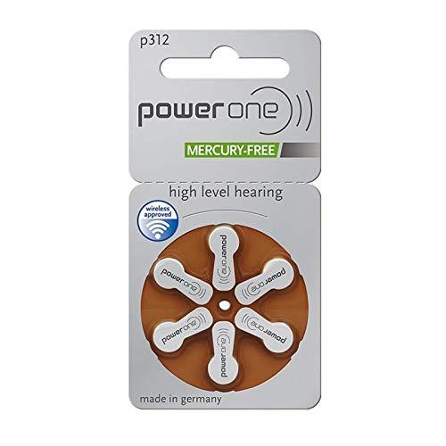 Lot de 6 Batterie PowerOne type P 312 Piles pour appareils auditifs (pour prothèses : GN Resound)