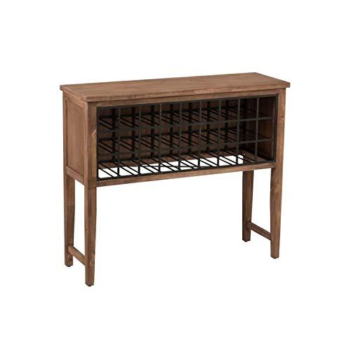 étagère porte-bouteilles 27 compartiments en bois et métal effet rouille