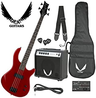 Dean Edge 09 Bass and Amp Pack with Metallic Red Dean Edge 09 Bass Guitar, Bass Amp, Gig Bag, Tuner, Cord, Strap, and Picks