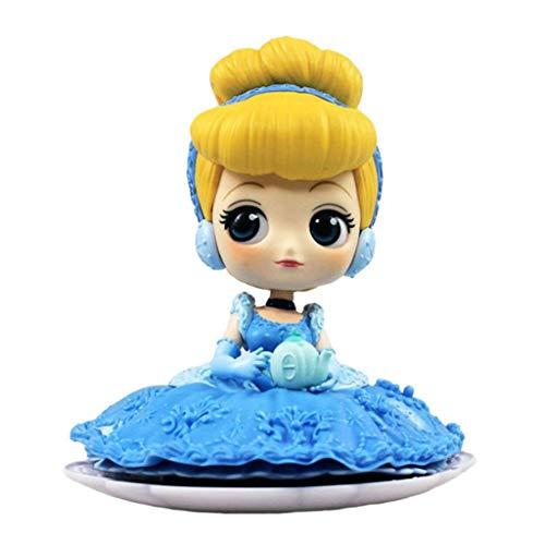 CJH Disney Princess Cinderella Q Posket Postura sentada Decoraciones Figura Modelo Popular de Dibujos Animados de Juguete de Regalo de Disney Ordenadores Estilo Lindo muñeca Adornos