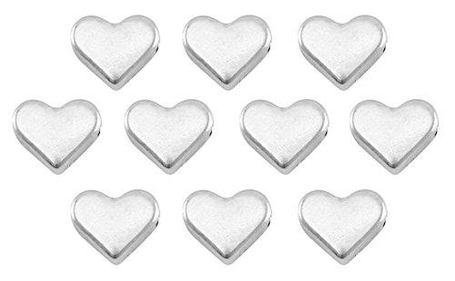 Nuoli Herz Perlen Silber (10 Stück) Herzperlen zum Basteln ca. 6mm, DQ Metall mit horizontalem Reihloch