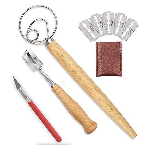 Bread Lame and Dough Whisk Set With Super Sharp Blade 5 Replacement Blades & Leather Protective Cover lame bread slashing tool, Professional Dough Making Slasher Tools,for Bread, Cake, Pizza