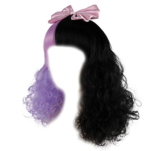 Two Tone Lavender Black Mid-Length Curly Wig with Bangs Pop Singer Cosplay Wigs w/Satin Ribbon Bow for Halloween Costume Party