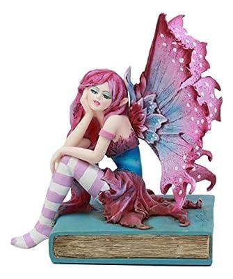 "Ebros Amy Brown Book Fairy Statue 6"" Tall Fantasy Mythical Faery Magic Watercolor Collectible Decor Figurine"