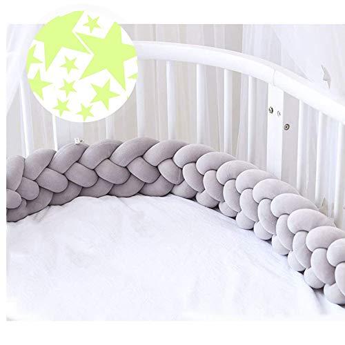 ACTENLY 220cm Baby 4 Weben Babybett Bettumrandung Nestchen Stoßstang Kantenschutz Kopfschutz für Kinderbett Bettumfang (Grau + 50 Stück Leuchtende Sterne Wandtattoo)