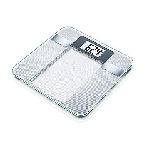 Beurer BG 13 - Báscula de baño diagnóstica de vidrio, cálculo del IMC, vidrio de seguridad, plataforma 30 x 30 cm, números con altura de 3.8 cm, semitransparente, Plata