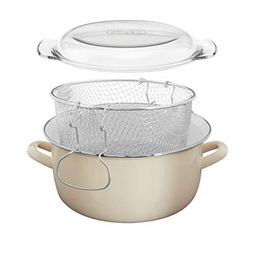 Premier Housewares Tegame profondo per friggere 16 X 33 X 27 cm, 5 L, colore: Bianco crema