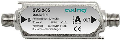 Axing SVS 2-05 - Amplificador multibanda para Las señales combinadas de terrestre y satélite con Canal Retorno (15 dB, 85-2200 MHz) Color Plateado