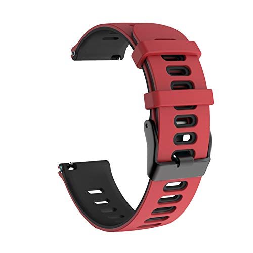 Para Samsung Galaxy Watch Active 2 40mm 44mm Strap Sport Pulsera Silicone WatchBand Active2 20mm Reloj Correa para GT2 42mm 10688 (Band Color : Red black, Band Width : 20mm)