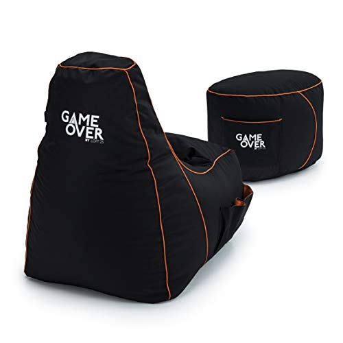 Game Over Video Gaming Bean Bag Chair and Footstool Bundle | Indoor Outdoor | Side Pockets for Controllers | Headset Holder | Ergonomically Designed for Gamers (Portal Jump)