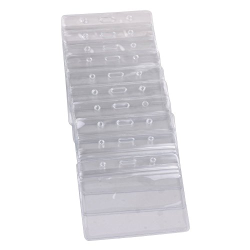 KLOUD City 10 pcs Clear PVC Business ID Badge Card Holder Case with Slot & Chain Holes (10 Horizontal Style)
