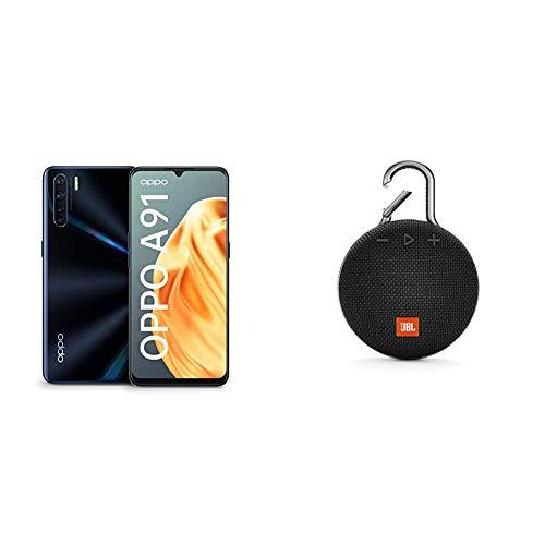 OPPO A91 Smartphone (16,2 cm (6,4 Zoll)) 128 GB interner Speicher, 8 GB RAM, AMOLED Display, Lightening Black – inkl. Schutzcover + JBL Clip 3 Bluetooth Lautsprecher