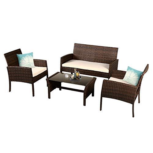 Goplus Rattan Sofa Furniture Set Outdoor Garden Patio 4-Piece Cushioned Seat Wicker (Coffee)