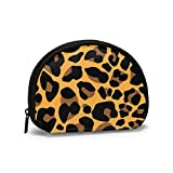 DJNGN Tela Oxford Estampado de Leopardo Monedero Amarillo Dorado Monedero pequeño con Cremallera Bolsa Bolsa de Cambio Mini Bolsas de Maquillaje cosmético Organizador Bolsas Multiusos